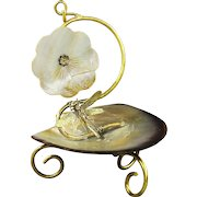 Antique French mother of pearl pocket Watch Stand with Dragonfly