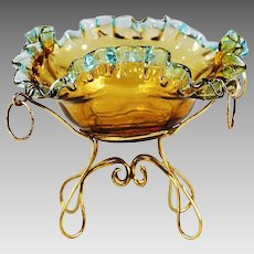 Antique French Napoleon I gold amber & blue glass Bowl George Sand bronze mounts
