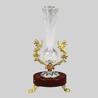 Antique French etched crystal Vase in ormolu mounts on marble & champleve base