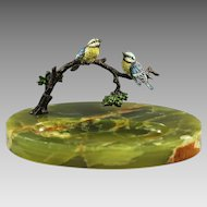 Austrian cold-painted bronze Bird figurines on tree brunch and green Onyx dish