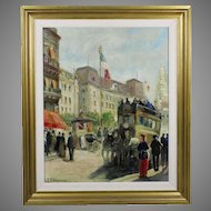 Vintage Oil on canvas painting by English artist painter Jon Toulmin 1911-?
