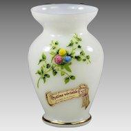 Vintage French Pierre Schneider white opaline glass Vase