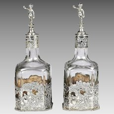 Pair Antique German Hanau repousse sterling Silver 925 Mounted Glass Decanters
