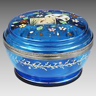 "7"" Antique Moser Bohemian aqua blue glass Box chinoiserie enamelled bird flower"