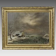 Antique oil canvas wood board Painting signed Roulland c.1867 Pioneer Village