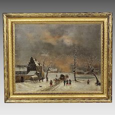 Antique oil canvas wood board Painting signed Roulland c.1870 Civil War