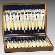 24 pc Antique Sheffield silver plate Fish set Flatware in presentation box