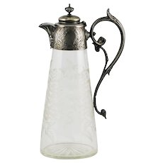 Antique German silver & etched glass Pitcher or Jug with hinged lid
