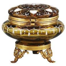 Antique Victorian Amber enamelled art glass hinged trinket BOX or powder JAR