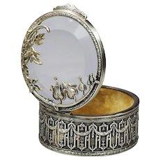 Antique French silver trinket Box w/ Broken Heart flowers on glass lid