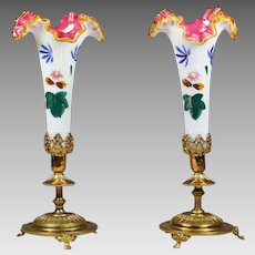 """11""""H Pair Antique French white opaline overlay w/ pink glass Vases gilt ormolu base"""
