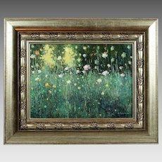 Oil board painting Wild Flowers established Ukrainian artist Martunuik signed