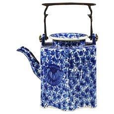 Antique British Flow Blue Teapot 19th century Coffee Pot with bronze handle