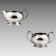 Antique sterling silver Creamer & Sugar Sheffield England Cooper Brothers & Son
