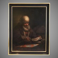 Antique 17th century o/c painting portrait of Scholar at the Desk circa Rembrandt