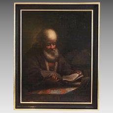 Antique 17th century o/c painting portrait of Scholar at the Desk circa Rembrandt