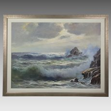 Oil on canvas seascape painting by listed Italian artist Guido Odierno 1913-1991