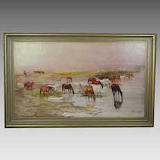 Antique 19thC oil canvas painting by Hungarian artist Laszlo Pataky 1857-1912
