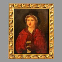 Antique oil wood panel painting Welsh Girl by English artist William Mulready