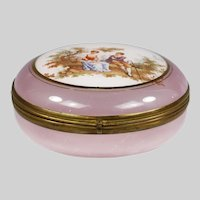 French pink lilac glass trinked powder hinged Box
