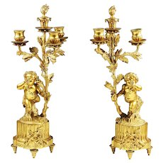 Pair of Louis XVI style gilt bronze 3 light figural candelabra candleholders