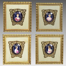 Antique set of 4 miniatures paintings Maiden - Season of the Year KPM porcelain