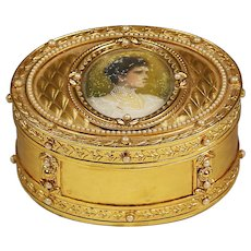 Antique bronze dore jewelry Box w/ miniature portrait of Russian Queen