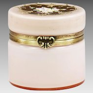 Vintage Mid century Bohemian pink overlay white glass trinket Box