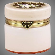 Vintage Mid century Bohemian pink overlay white glass trinket Box
