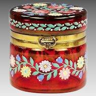 Bohemian trinket hinged Box of cranberry glass