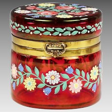 Bohemian trinket hinged Box of cranberry glass