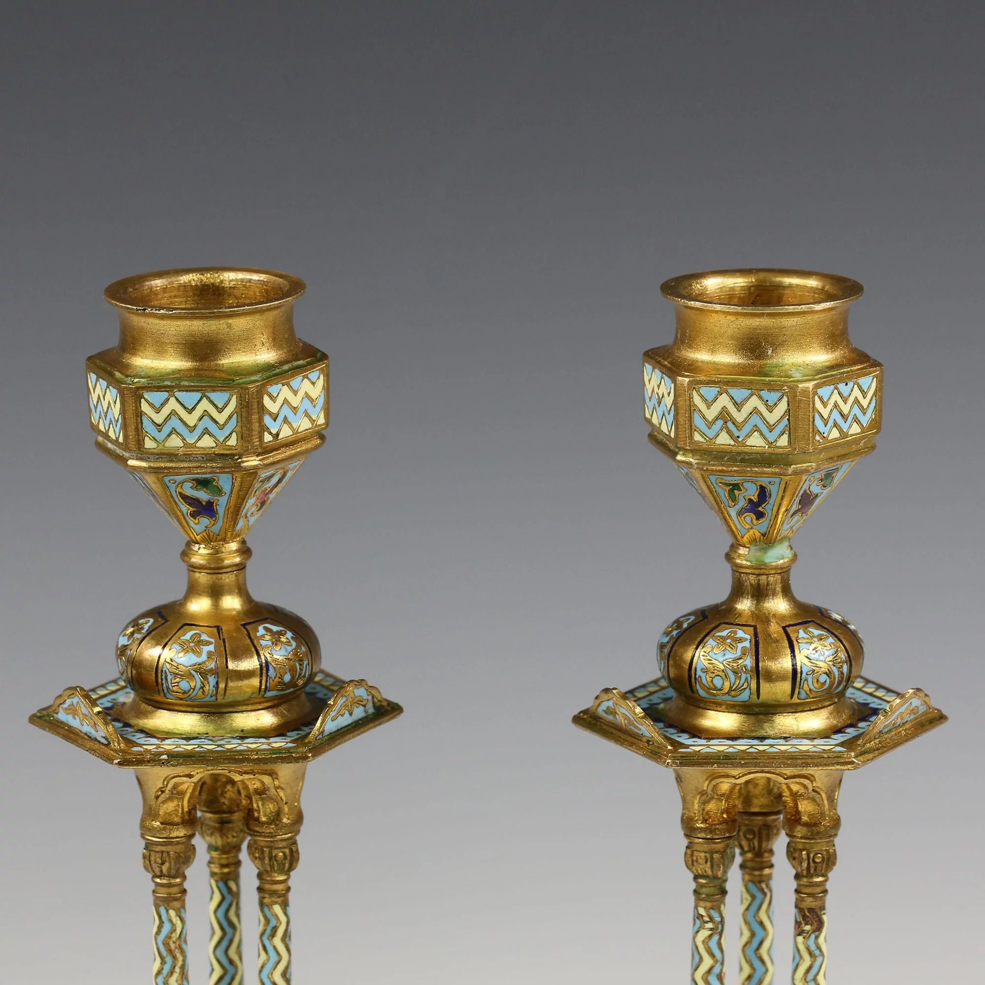 Pair Antique French champleve cloisonne bronze Candle ...