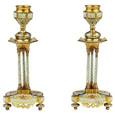 Pair Antique French champleve cloisonne bronze Candle Holders
