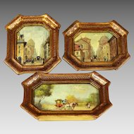 Set 3 miniature signed oil Paintings Italian Florentine framed