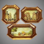 Set 3 miniature signed oil Paintings Italian Florentine framed