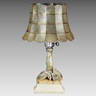 Antique Art Deco era marble alabaster table Lamp carved Bird capiz shell shade