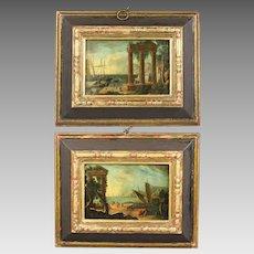 CLAUDE LORRAIN 1604/5-1682 follower Antique Pair of oil on copper Mediterranean