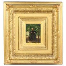 Antique French Vincent Jean Baptiste Chevilliard (1841-1904) oil wood miniature painting