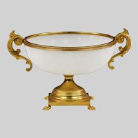 White opaline glass Bowl and gilt bronze mounts