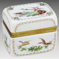 Antique French Opaline bulle de savon Glass Vanity Box Signed R.Noirot
