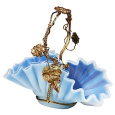 Antique French blue opaline crystal glass Basket with bronze handle