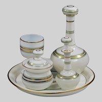 Antique French white opaline crystal glass Liqueur Decanter Set