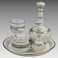 Antique French white opaline crystal glass Liqueur Decanter Set