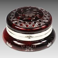 Antique Bohemian trinket Box Ruby cut to clear glass