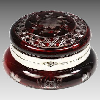 Antique Bohemian trinket Box Ruby cut to clear glass