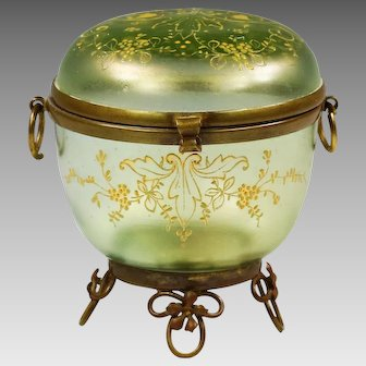 Antique Bohemian Kralik trinket Box green iridescent glass