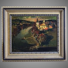Anatoly Shariy 1936 Ukrainian End of the Day landscape oil on board