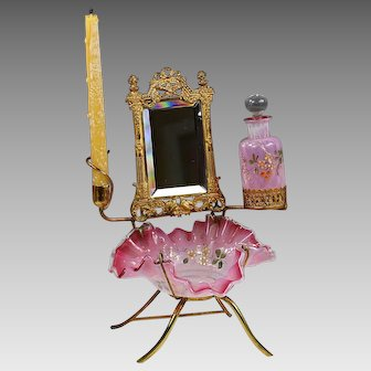 Antique French pink opaline glass dressing table stand