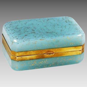 Italy Murano blue Aventurine glass trinket or jewelry hinged Box
