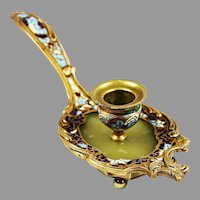 Antique French gilt bronze enamel champleve cloisonne Candleholder